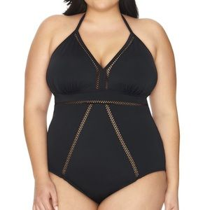 Time and True plus black inset one piece swimsuit